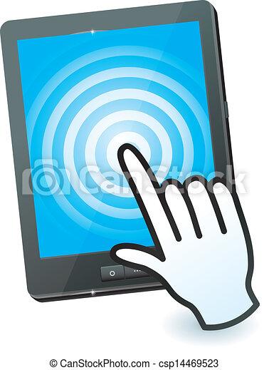 Explosión de manos y tablillas con pantalla de contacto - csp14469523