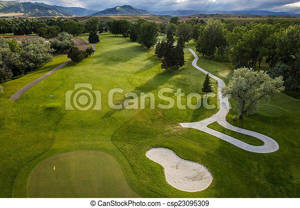 cursus, luchtopnames, golf - csp23095309