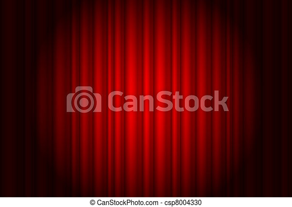Curtain from the theatre with a spotlight - csp8004330