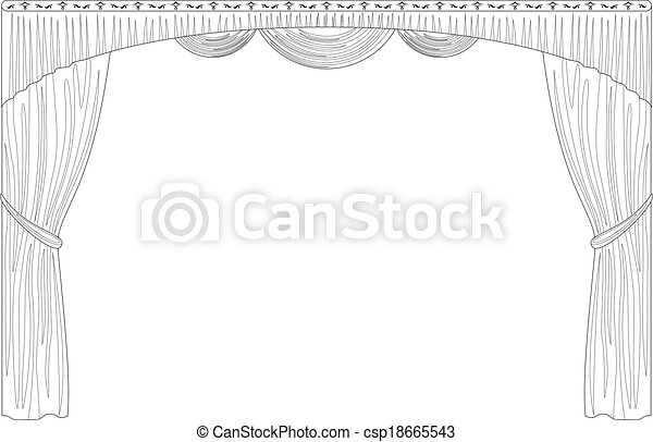 Curtain isolated contour - csp18665543