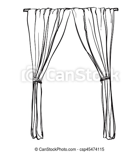 Curtains sketch. Hand drawn interior illustration - csp45474115