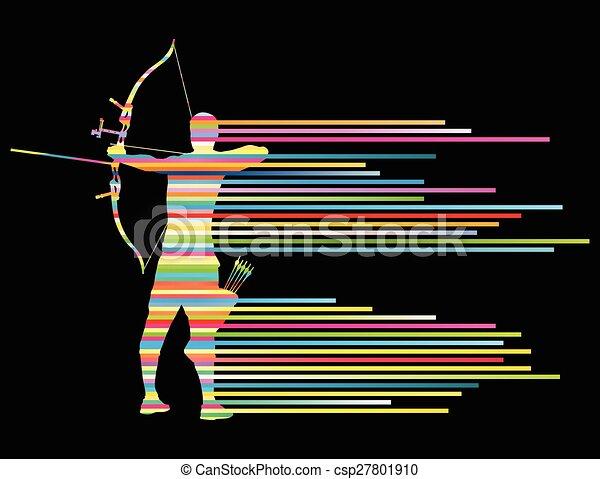 curvatura, conceito, arqueiro, arco, vetorial, fundo, homem - csp27801910