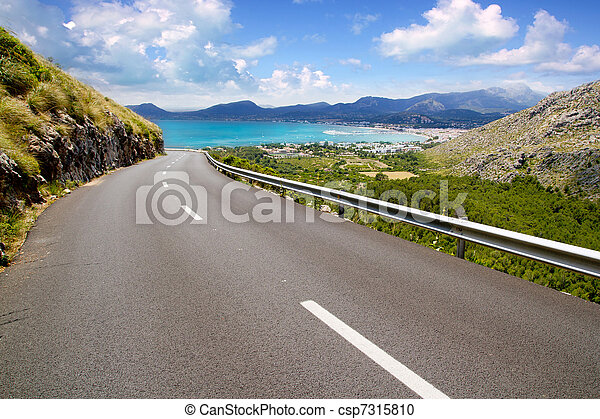 curve of road in mountain with Pollensa view in Mallorca - csp7315810