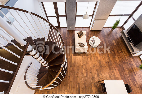 Curve Stairs In Spacious Living Room   Csp27712800