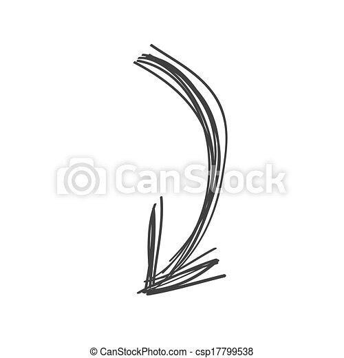 Curved arrow doodle in black - csp17799538
