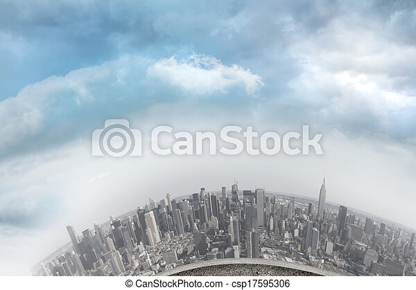 Curved cityscape - csp17595306