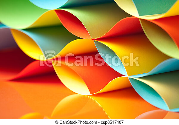 Curved, colorful sheets paper with mirror reflexions. Background ...