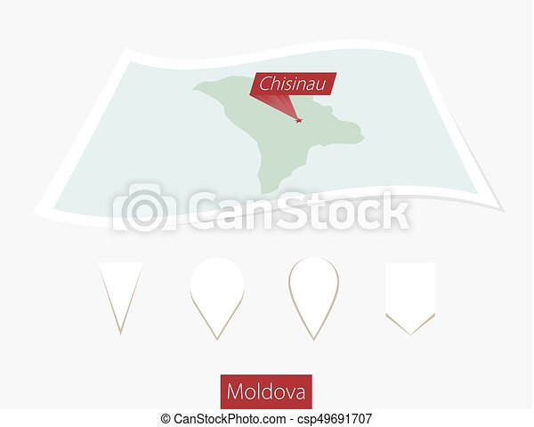 Curved paper map of moldova with capital chisinau on gray vector