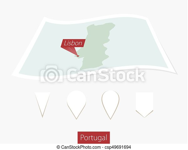Curved paper map of Portugal with capital Lisbon on Gray Background. Four different Map pin set. - csp49691694