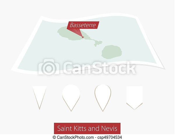 Curved paper map of Saint Kitts and Nevis with capital Basseterre on Gray Background. Four different Map pin set. - csp49704534
