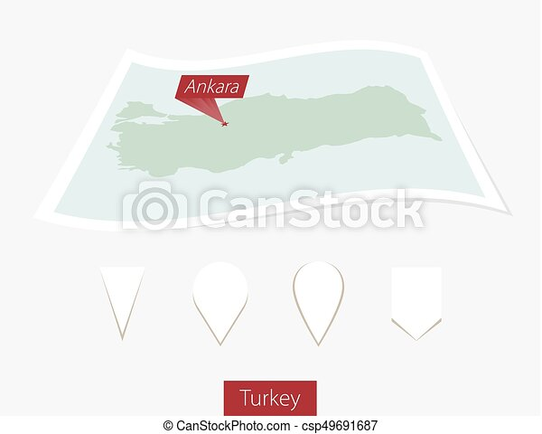 Curved paper map of Turkey with capital Ankara on Gray Background. Four different Map pin set. - csp49691687