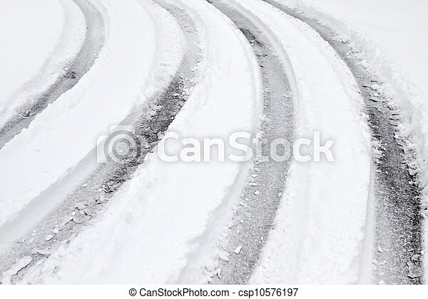 curved tire tracks on a snow covered road multiple curved vehicle