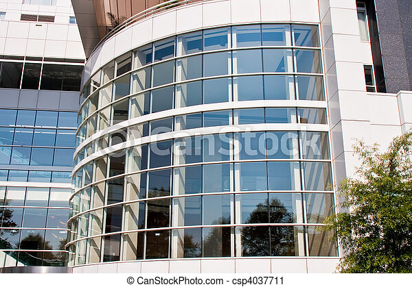 Curved White Steel and Glass Office Building - csp4037711