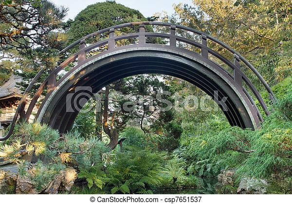 Curved Wooden Bridge at Japanese Garden - csp7651537