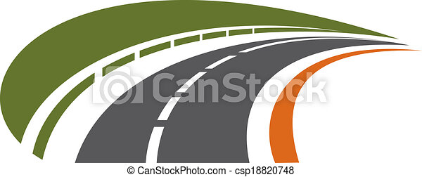 Curving tarred road receding into the distance - csp18820748