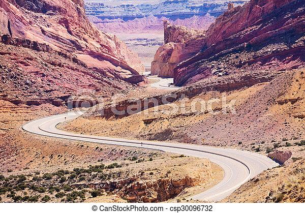 Curvy Interstate 70 road goes through Utah USA - csp30096732
