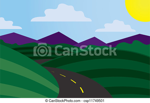 Curvy road scene . Curvy road scene with mountains in the background .