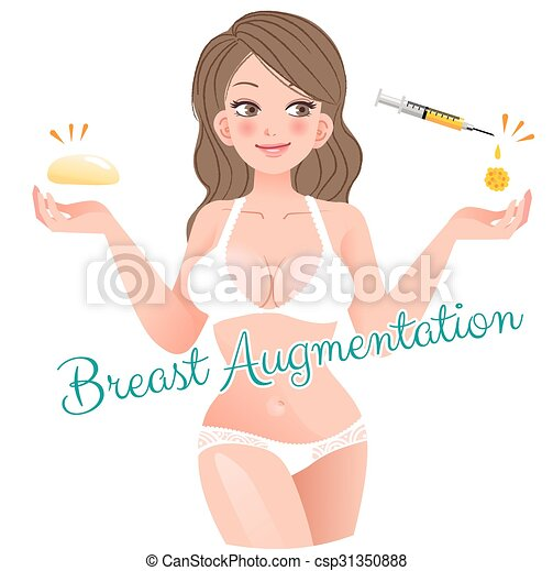 Curvy Woman Breast Augmentation Concept - csp31350888