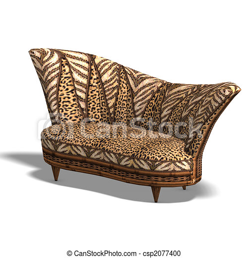 Cushy Sofa With African Design Stock Illustration