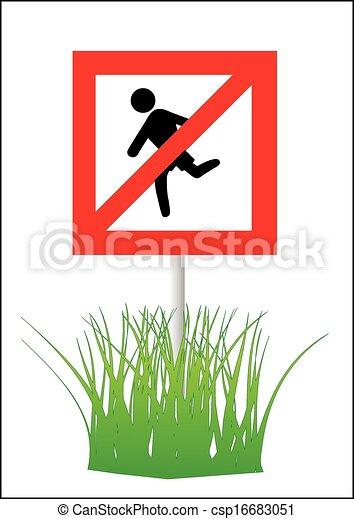 custodire, erba, spento, segno - csp16683051