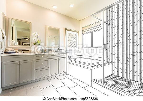 Custom Master Bathroom Design Drawing Gradating To Finished Photo Custom Bathroom Design Drawings