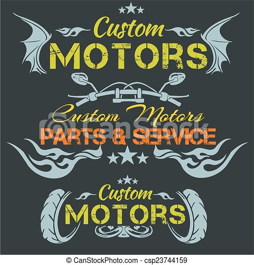 Custom motors - vector emblem set. - csp23744159
