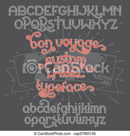Custom retro typeface Bon Voyage - csp37993145