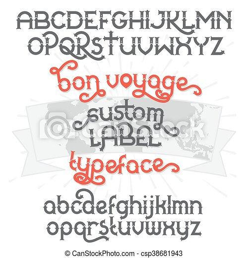 Custom retro typeface Bon Voyage - csp38681943