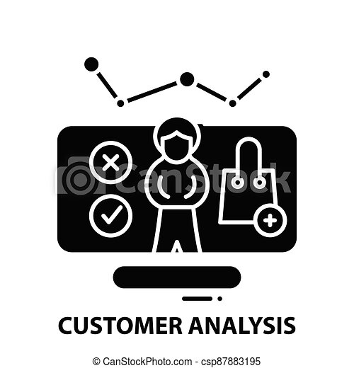 customer analysis icon, black vector sign with editable strokes, concept illustration - csp87883195