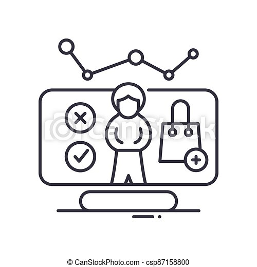 Customer analysis icon, linear isolated illustration, thin line vector, web design sign, outline concept symbol with editable stroke on white background. - csp87158800