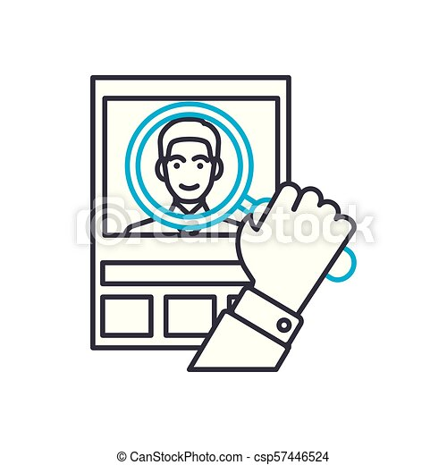 Customer analysis vector thin line stroke icon. Customer analysis outline illustration, linear sign, symbol concept. - csp57446524