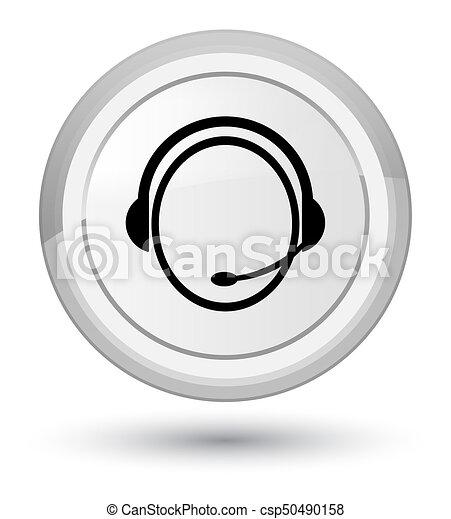 Customer care service icon prime white round button - csp50490158