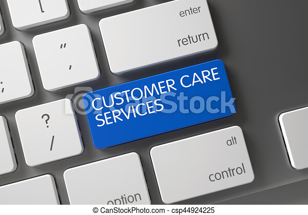 Customer Care Services Close Up of Keyboard. 3D. - csp44924225