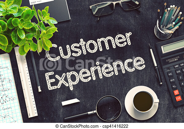Customer Experience On Black Chalkboard 3D Rendering