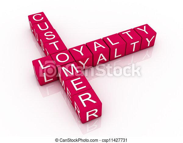 Customer loyalty crossword on white background, 3D rendered illustration - csp11427731