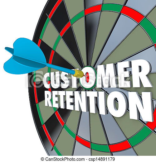 Customer Retention Dartboard Perfect Dart Hit - csp14891179