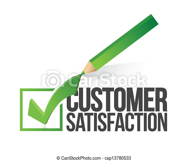customer satisfaction checkmark and pencil - csp13780533