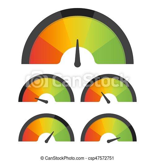 Customer satisfaction meter speedometer set. Vector illustration - csp47572751