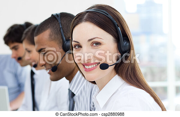 Customer service agents with headset on - csp2880988
