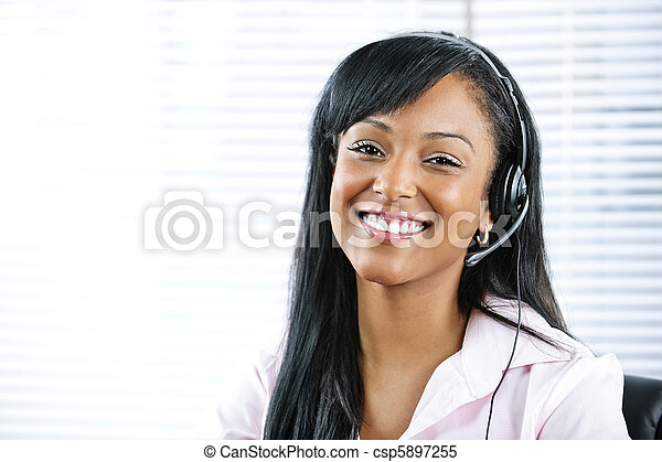 Customer service and support representative with headset - csp5897255