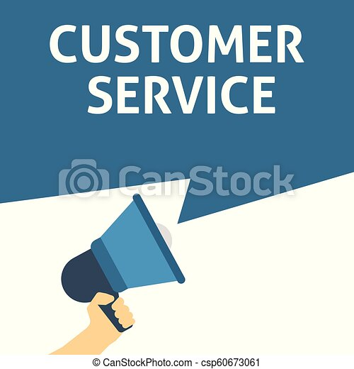 CUSTOMER SERVICE Announcement. Hand Holding Megaphone With Speech Bubble - csp60673061