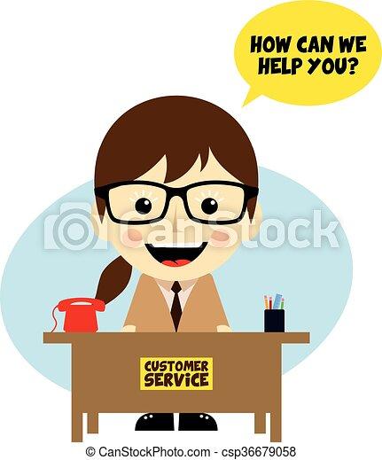 customer service desk cartoon character theme vector art clipart rh canstockphoto com customer support clipart customer service clip art free