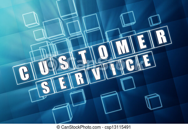 customer service in blue glass cubes - csp13115491