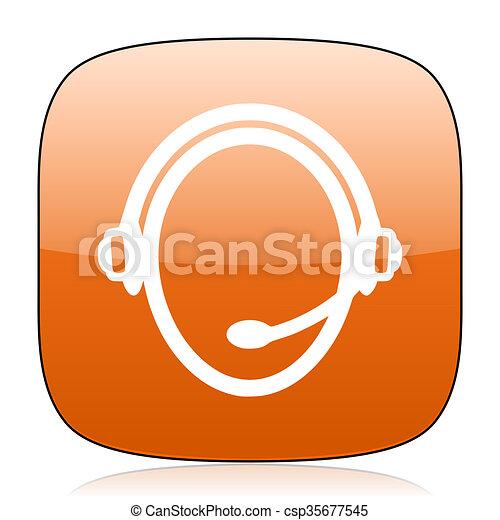 customer service orange square web design glossy icon - csp35677545