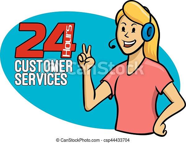customer services girl a vector illustration of customer vector rh canstockphoto com customer service clip art free customer service clipart png