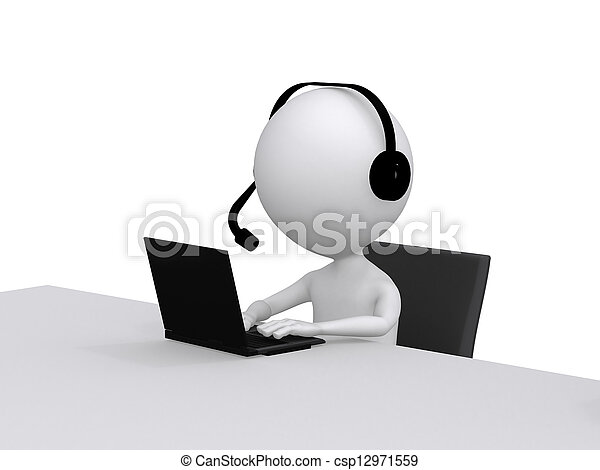 Customer Support. 3D little human character with a Headsets and a Laptop Computer - csp12971559