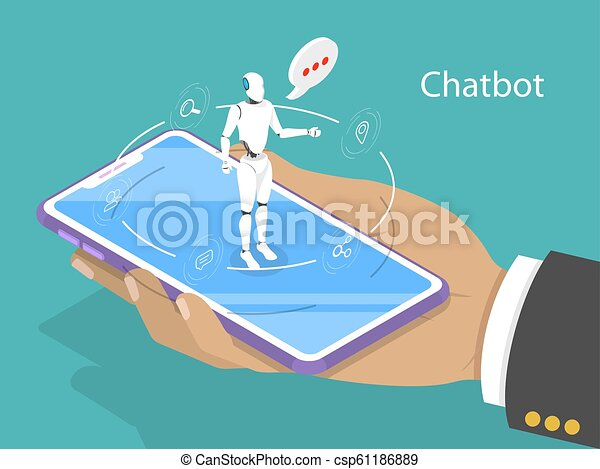 Customer support chatbot flat isometric vector concept. - csp61186889