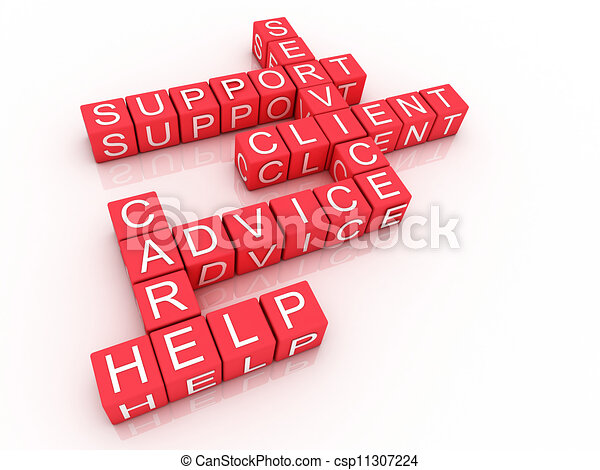 Customer support crossword on white background, 3D rendered illustration  - csp11307224
