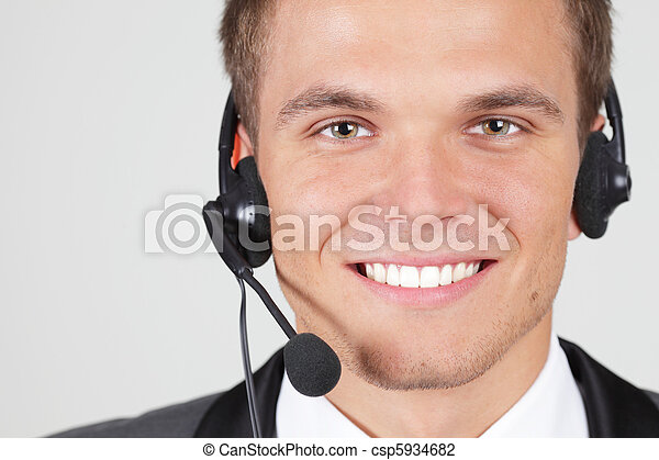 Customer support operator woman smiling isolated - csp5934682