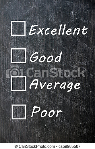 Customer survey or poll (excellent, good, average, poor) - csp9985587